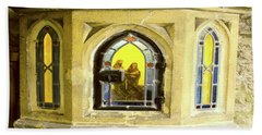 Nativity In Ancient Stone Wall Beach Towel by Linda Prewer