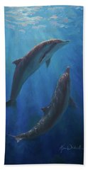 Beach Sheet featuring the painting Dolphin Dance - Underwater Whales by Karen Whitworth