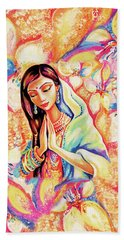 Beach Towel featuring the painting Little Himalayan Pray by Eva Campbell