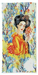 Beach Towel featuring the painting Harmony by Eva Campbell