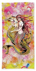 Beach Towel featuring the painting Black Sea Mermaid by Eva Campbell