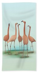 Beach Towel featuring the painting Flamingo Mingle by Ivana Westin