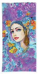 Beach Towel featuring the painting The Veil Of Aish by Eva Campbell