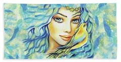 Beach Towel featuring the painting Bird Of Secrets by Eva Campbell