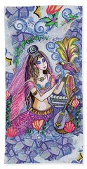 Beach Towel featuring the painting Scheherazade's Bird by Eva Campbell