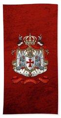Knights Templar - Coat Of Arms Over Red Velvet Beach Towel