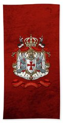 Knights Templar - Coat Of Arms Over Red Velvet Beach Sheet