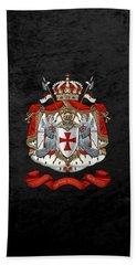 Knights Templar - Coat Of Arms Over Black Velvet Beach Towel