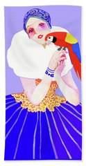 Vintage Dancer With Parrot Beach Towel
