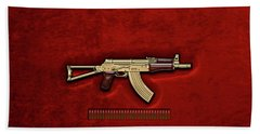 Beach Towel featuring the digital art Gold A K S-74 U Assault Rifle With 5.45x39 Rounds Over Red Velvet by Serge Averbukh