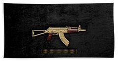 Beach Towel featuring the digital art Gold A K S-74 U Assault Rifle With 5.45x39 Rounds Over Black Velvet by Serge Averbukh