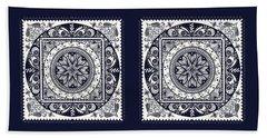 Deep Blue Classic Mandala Beach Towel by Deborah Smith