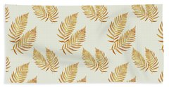 Beach Towel featuring the mixed media Gold Fern Leaf Art by Christina Rollo