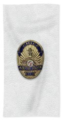 Beach Towel featuring the digital art Los Angeles Airport Police Division - L A X P D  Chief Badge Over White Leather by Serge Averbukh