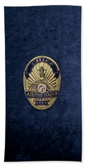 Beach Towel featuring the digital art Los Angeles Airport Police Division - L A X P D  Chief Badge Over Blue Velvet by Serge Averbukh