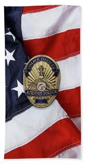 Beach Towel featuring the digital art Los Angeles Airport Police Division - L A X P D  Police Officer Badge Over American Flag by Serge Averbukh