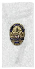 Beach Towel featuring the digital art Los Angeles Airport Police Division - L A X P D  Police Officer Badge Over White Leather by Serge Averbukh