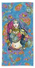 Beach Towel featuring the painting Kali by Eva Campbell