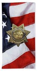 Beach Towel featuring the digital art California Highway Patrol  -  C H P  Chief Badge Over American Flag by Serge Averbukh