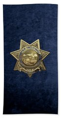 Beach Towel featuring the digital art California Highway Patrol  -  C H P  Chief Badge Over Blue Velvet by Serge Averbukh