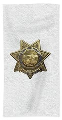 Beach Towel featuring the digital art California Highway Patrol  -  C H P  Police Officer Badge Over White Leather by Serge Averbukh