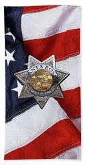 Beach Towel featuring the digital art Santa Rosa Police Departmen Badge Over American Flag by Serge Averbukh