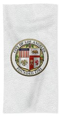 Beach Towel featuring the digital art Los Angeles City Seal Over White Leather by Serge Averbukh
