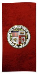 Beach Towel featuring the digital art Los Angeles City Seal Over Red Velvet by Serge Averbukh