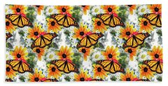 Beach Towel featuring the mixed media Butterfly Pattern by Christina Rollo