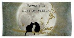 Beach Towel featuring the digital art T'aime A La Lune Et Retour by Linda Lees
