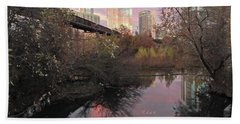 Austin Hike And Bike Trail - Train Trestle 1 Sunset Triptych Right Beach Sheet by Felipe Adan Lerma