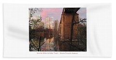 Austin Hike And Bike Trail - Train Trestle 1 Sunset Middle Greeting Card Poster - Over Lady Bird Lak Beach Sheet by Felipe Adan Lerma