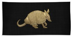 Gold Armadillo On Black Canvas Beach Towel