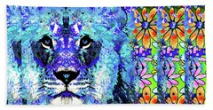 Beach Sheet featuring the painting Beauty And The Beast - Lion Art - Sharon Cummings by Sharon Cummings