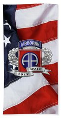 82nd Airborne Division 100th Anniversary Insignia Over American Flag  Beach Towel