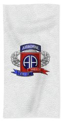 82nd Airborne Division 100th Anniversary Insignia Over White Leather Beach Towel
