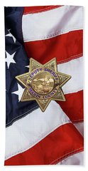 Beach Sheet featuring the digital art Marin County Sheriff Department - Deputy Sheriff Badge Over American Flag by Serge Averbukh