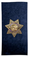 Beach Sheet featuring the digital art Marin County Sheriff's Department - Deputy Sheriff's Badge Over Blue Velvet by Serge Averbukh