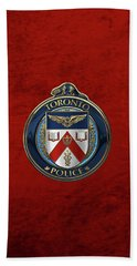 Beach Sheet featuring the digital art Toronto Police Service  -  T P S  Emblem Over Red Velvet by Serge Averbukh