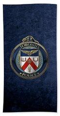 Beach Sheet featuring the digital art Toronto Police Service  -  T P S  Emblem Over Blue Velvet by Serge Averbukh