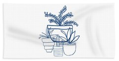 Indigo Potted Succulents- Art By Linda Woods Beach Towel