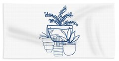 Beach Towel featuring the mixed media Indigo Potted Succulents- Art By Linda Woods by Linda Woods