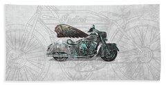 Beach Sheet featuring the digital art 2017 Indian Chief Classic Motorcycle With 3d Badge Over Vintage Blueprint  by Serge Averbukh
