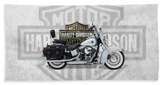 Beach Sheet featuring the digital art 2017 Harley-davidson Heritage Softail Classic  Motorcycle With 3d Badge Over Vintage Background  by Serge Averbukh