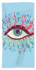 Strange Blue Psychedelic Eye Beach Sheet