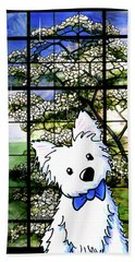 Westie At Dogwood Window Beach Towel