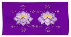 Beach Towel featuring the mixed media Purple Lotus by Elizabeth Lock