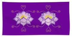 Beach Sheet featuring the mixed media Purple Lotus by Elizabeth Lock