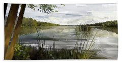 Beach Towel featuring the painting Quiet Day By Lake by Ivana Westin