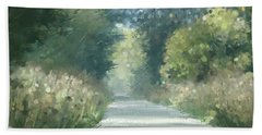 Beach Towel featuring the pastel The Road Back Home by Ivana Westin